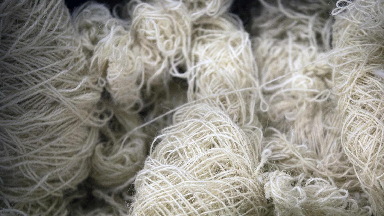 Desso inuti ett textilgolv garn