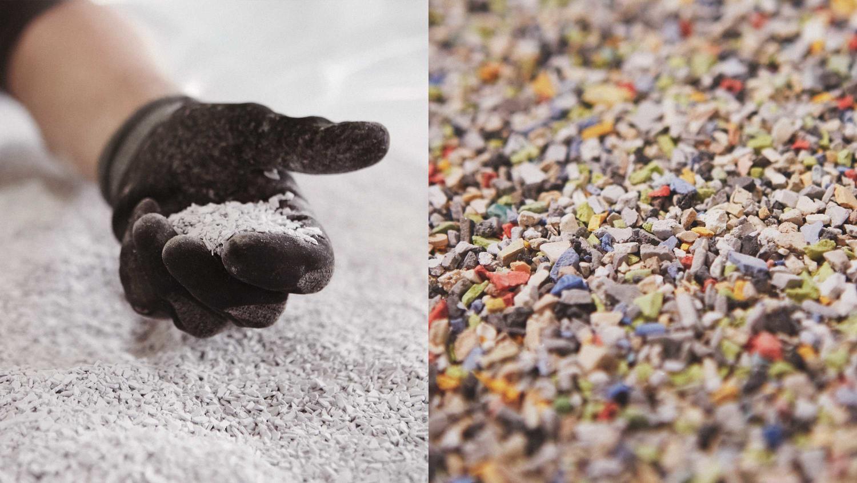 Återvinning av plastgolv, nedmalet till granulat för att bli nya golv