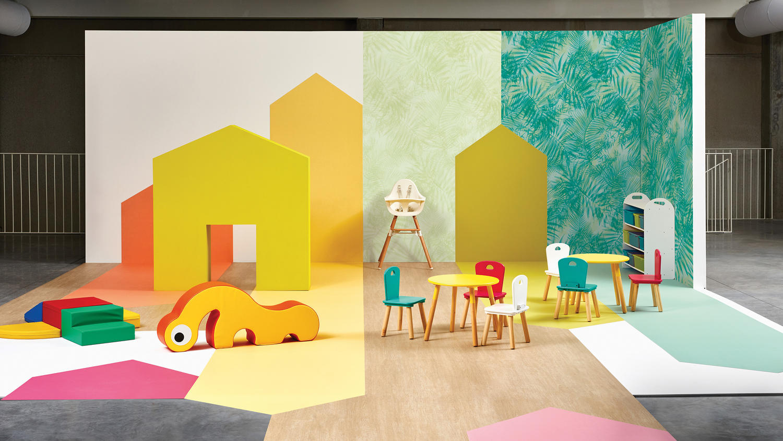 Heterogene vinyl vloer in kinderdagverblijf
